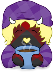 fluffy enjoying a hot beverage