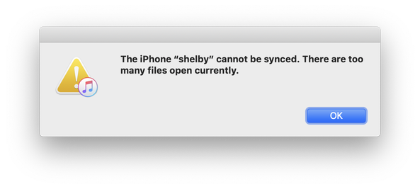 "The iPhone ""shelby"" cannot be synced. There are too many files open currently."