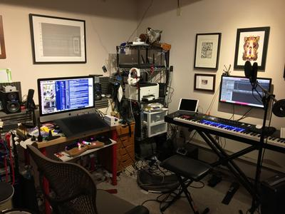 A rather cluttered recording studio